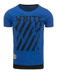 Kvalitní modré pánské tričko s potiskem - XL