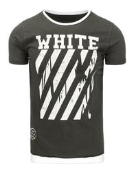 Tmavě šedé pánské tričko s potiskem - S