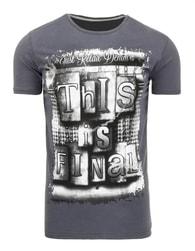 Tmavě šedé pánské moderní tričko s potiskem