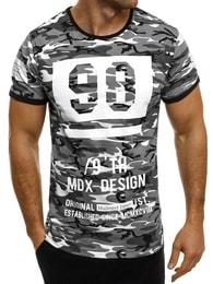 Madmext Maskáčové šedé tričko s potiskem MADMEXT 1896