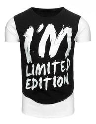 Moderní černé pánské tričko s potiskem - S