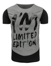 Moderní tmavě šedé pánské tričko s potiskem