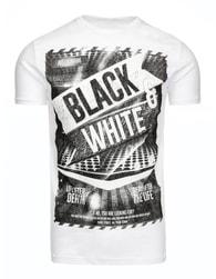 Atraktivní bílé pánské tričko BLACK & WHITE - XL