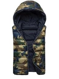 Nature Oboustranná pánská vesta maskáčová, tmavě modrá NATURE 3953