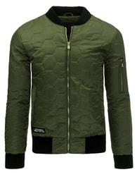Zelená pánská bomber bunda se vzorem