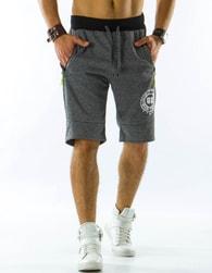 Sportovní šedé pánské kraťasy s potiskem - XL