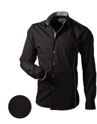 Černá košile slim-fit V062 - M