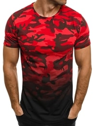 Breezy Atraktivní pánské maskáčové červené tričko BREEZY 525BT