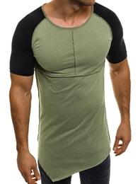 Athletic Prodloužené pánské moderní zelené tričko ATHLETIC 1112