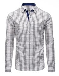 Kostkovaná pohodlná pánská šedá košile - XL