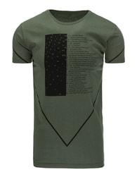 Stylové pánské zelené tričko s potiskem - S