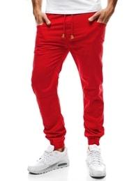 Pohodlné červené pánské nohavice Red Polo 655