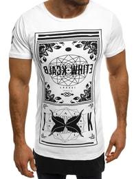 Black White Pohodlné módní pánské bílé tričko s potiskem BLACK WHITE 1108