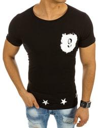 Moderní pánské černé tričko s potiskem - XXL