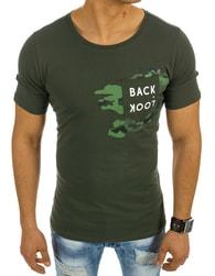 Módní pohodlné pánské tričko BACK LOOK zelené