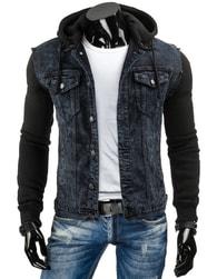 Džínová pánská bunda s černými rukávy - M