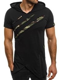 Breezy Moderní dlouhé pánské černé tričko BREEZY 459