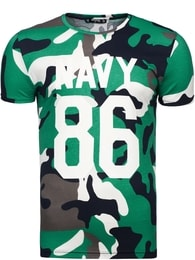 Athletic Krásné moderní pánské maskáčové tričko zelené ATHLETIC 1028