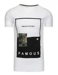 Moderní bílé pánské tričko s potiskem FAMOUS