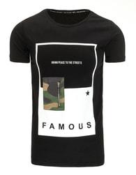FAMOUS černé atraktivní pánské tričko - XXL