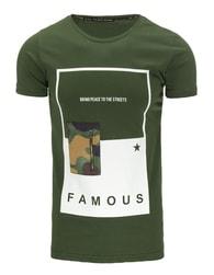 Atraktivní pánské tričko FAMOUS zelené