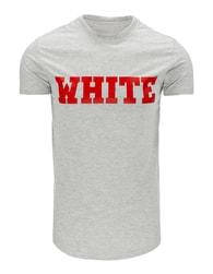 Zajímavé šedé tričko s potiskem WHITE - XXL