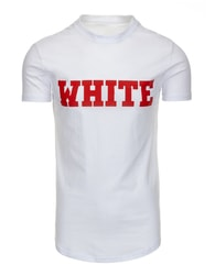 Fantastické bílé pánské tričko s potiskem - XXL