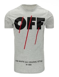 Módní pánské šedé tričko s potiskem OFF