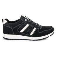 MAZARO Krásné sportovní kožené černé boty - 46