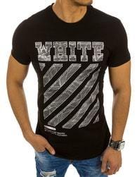 Bavlněné moderní pánské černé tričko WHITE