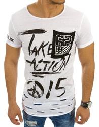 Bílé módní pánské tričko s potiskem - M