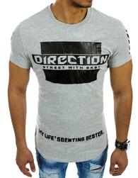 Bavlněné pánské šedé tričko DIRECTION