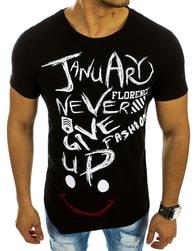 Asymetrické moderní černé triko s potiskem