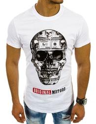 Atraktivní bílé pánské tričko s lebkou