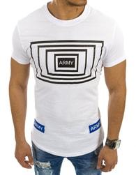 Fantastické bílé tričko s potiskem ARMY - XXL