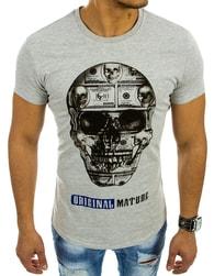 Tričko s lebkou v šedém provedení - M