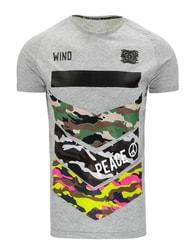 PEACE šedé moderní pánské tričko z bavlny