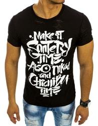 Černé moderní pánské triko s potiskem - XXL