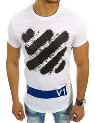 Bílé módní pánské tričko s potiskem