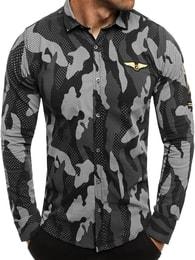 Zazzoni Atraktivní černá maskáčová košile ZAZZONI 1113
