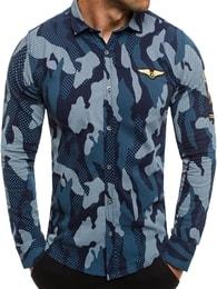 Zazzoni Krásná tmavě modrá maskáčová košile ZAZZONI 1113