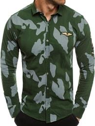 Zazzoni Módní zelená košile s dlouhým rukávem ZAZZONI 1113
