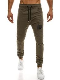 Athletic Pánské módní zelené jogger kalhoty ATHLETIC 829