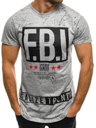J. Style Atraktivní pánské šedé F.B.I. tričko J.STYLE SS102