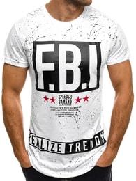 J. Style Bílé moderní pánské tričko F.B.I. J.STYLE SS102