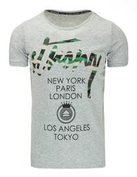 Moderní šedé tričko s potiskem STRONG - XXL