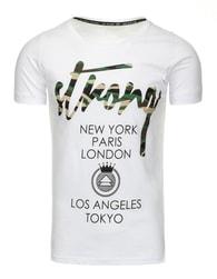 Atraktivní pánské bílé tričko s potiskem STRONG