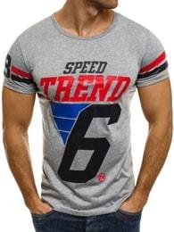 J. Style SPEED šedé tričko s bohatým barevným nápisem SS013