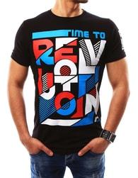 Zajímavé pánské černé tričko s potiskem - XXL