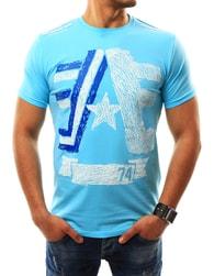 Světle modré tričko s potiskem - XXL